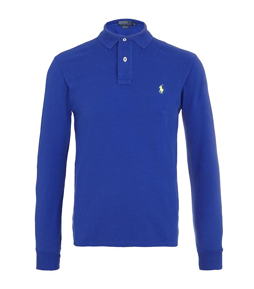 Lyst polo ralph lauren slim fit long sleeve polo shirt for Long sleeve fitted polo shirts