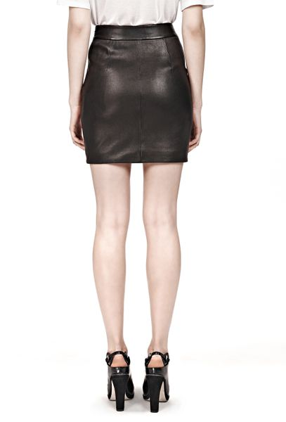 wang stretch leather high waisted skirt in black