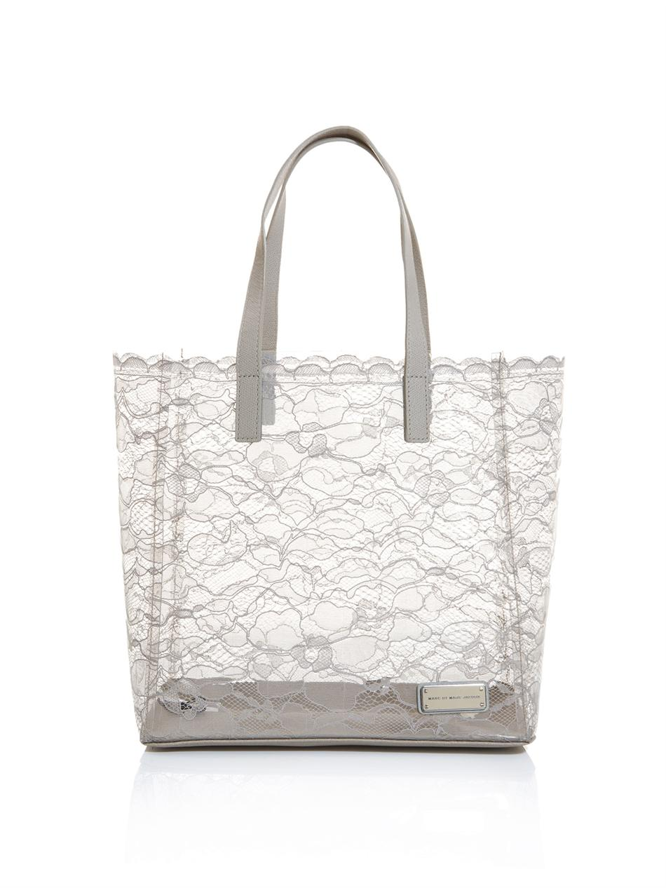 39983fb71958 Lyst - Marc By Marc Jacobs Lace and Pvc Tote Bag in Gray