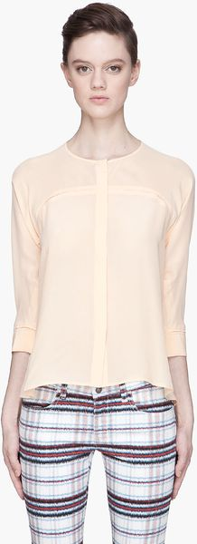 See By Chloé Peach Sheer Silk Blouse - Lyst