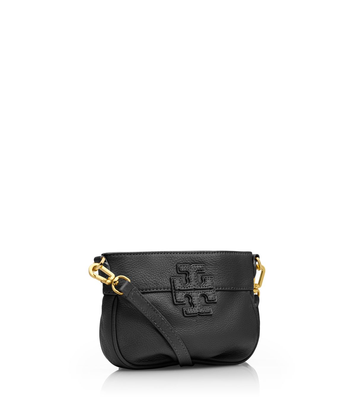 8eee931100a Lyst - Tory Burch Stacked T Leather Small Crossbody in Black