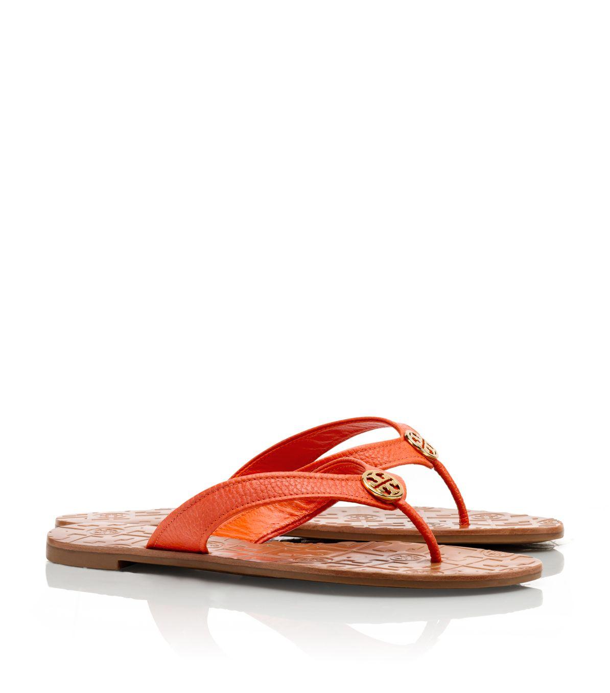 36f6cbc29e57 Tory Burch Tumbled Leather Thora Sandal in Orange - Lyst