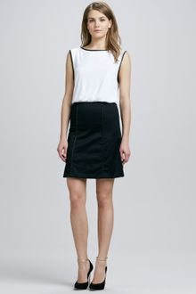 Alice + Olivia Alice Olivia A-line Leather trim Dress - Lyst