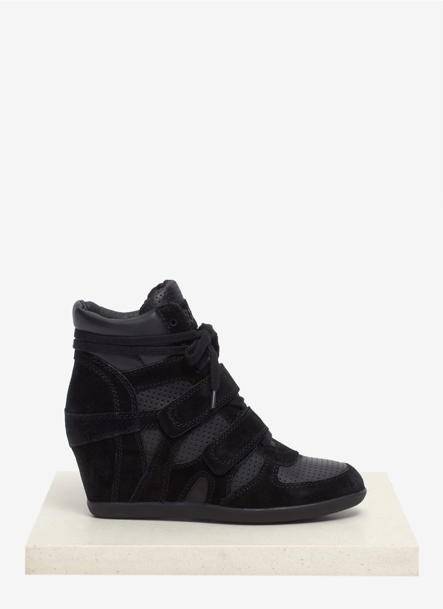 Lyst Ash Bea Perforated Leather Wedge Sneakers In Black