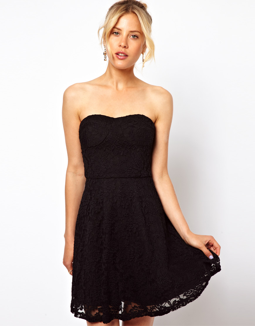 Lyst - ASOS Structured Lace Bandeau Skater Dress in Black 177bf0d77