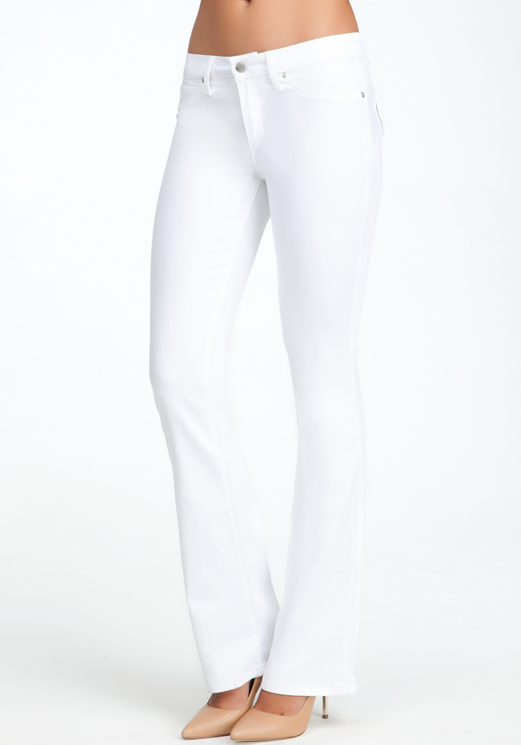 Bebe Flap Pocket Bootcut Jeans in White | Lyst