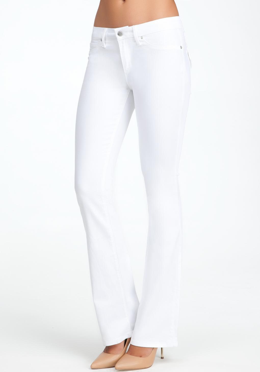 Bebe Flap Pocket Bootcut Jeans in White   Lyst