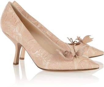 Bottega Veneta Butterfly Appliqué Embossed Leather Pumps - Lyst