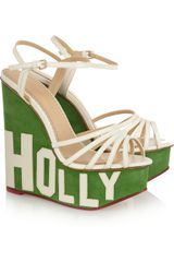 Charlotte Olympia Hollywood Suede and Leather Platform Sandals - Lyst