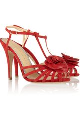 Charlotte Olympia Rosa Roseappliquéd Leather Sandals - Lyst