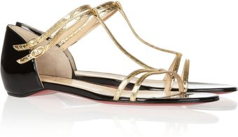 Christian Louboutin Arnold Metallic Water-snake and Patent-leather Sandals - Lyst
