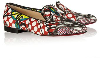 Christian Louboutin Sakouette Printed Cotton sateen Loafers - Lyst