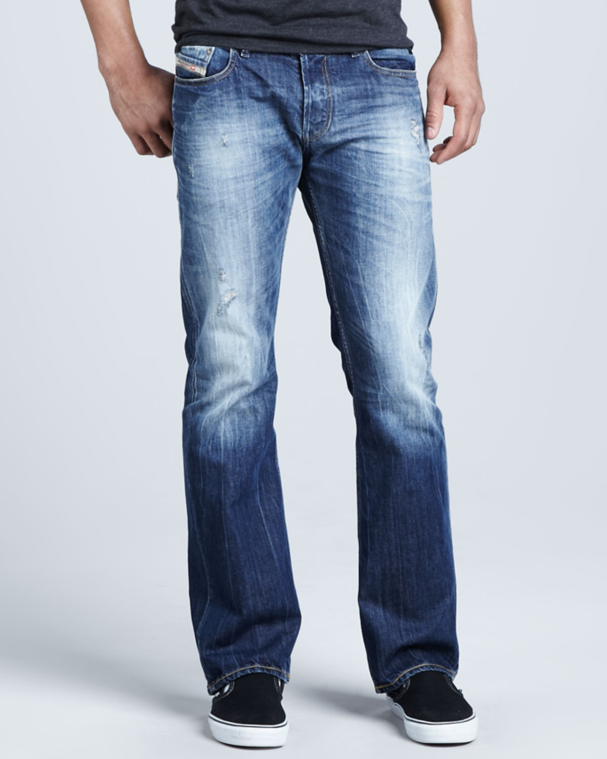Diesel Fanker 008b9 Bootcut Jeans in Blue for Men  Lyst