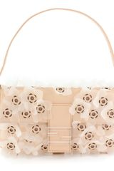 Fendi Cream and Gold Plexi Flowers Shoulder Baguette
