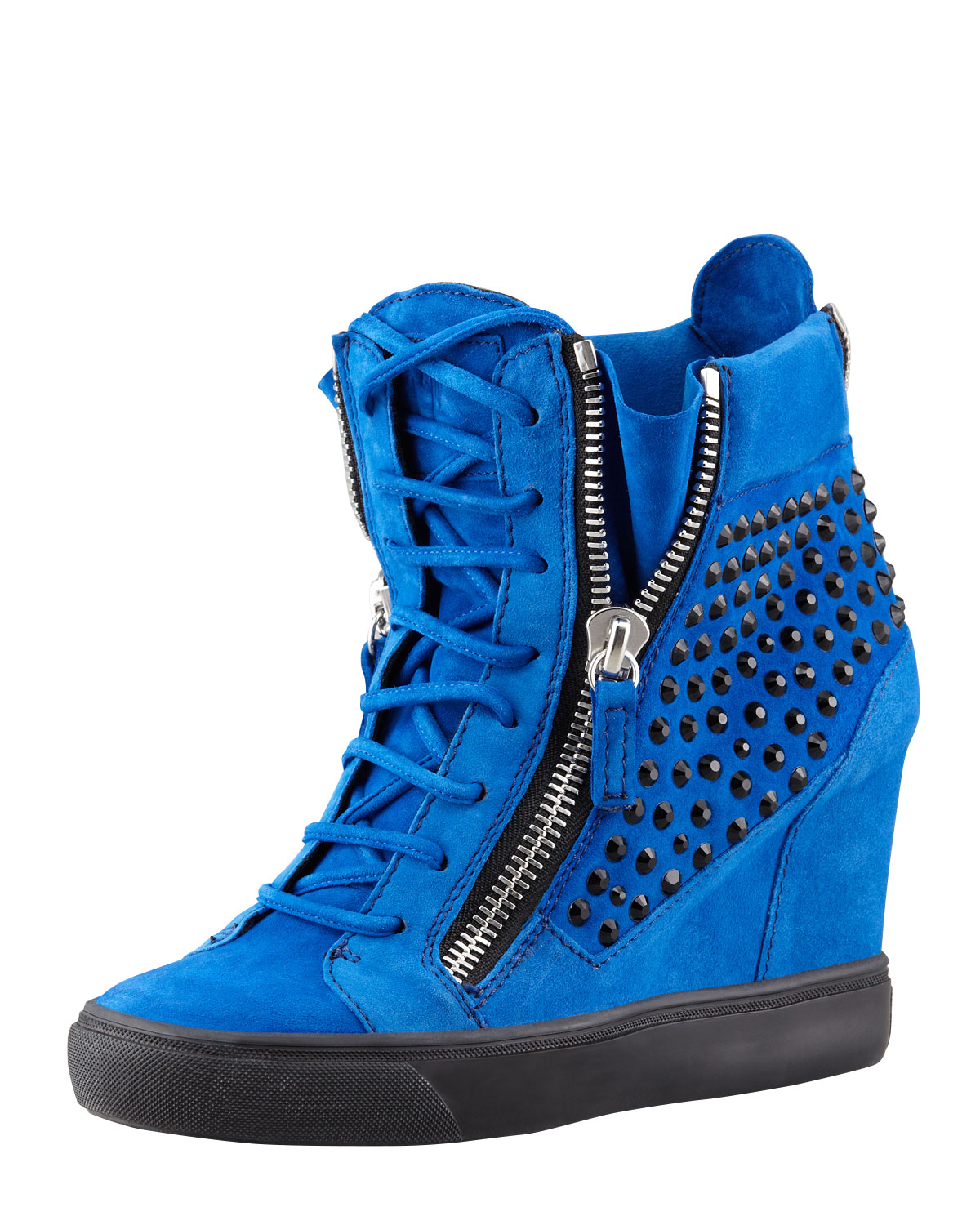 giuseppe zanotti crystalstudded suede wedge sneaker blue. Black Bedroom Furniture Sets. Home Design Ideas