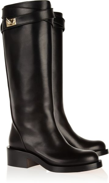 givenchy shark lock leather knee boots in black lyst
