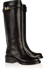 Givenchy Shark Lock Leather Knee Boots - Lyst