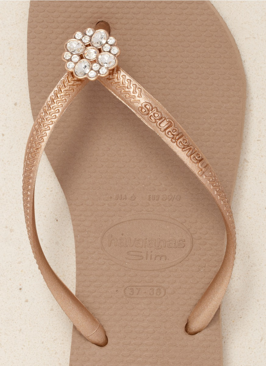 ee5393726162f5 Havaianas Slim Crystal Poem Flip-flops in Natural - Lyst