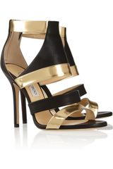Jimmy Choo Besso Textured and Mirroredleather Sandals - Lyst