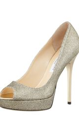 Jimmy Choo Crown Glitter Platform Peeptoe Pump Bronze - Lyst