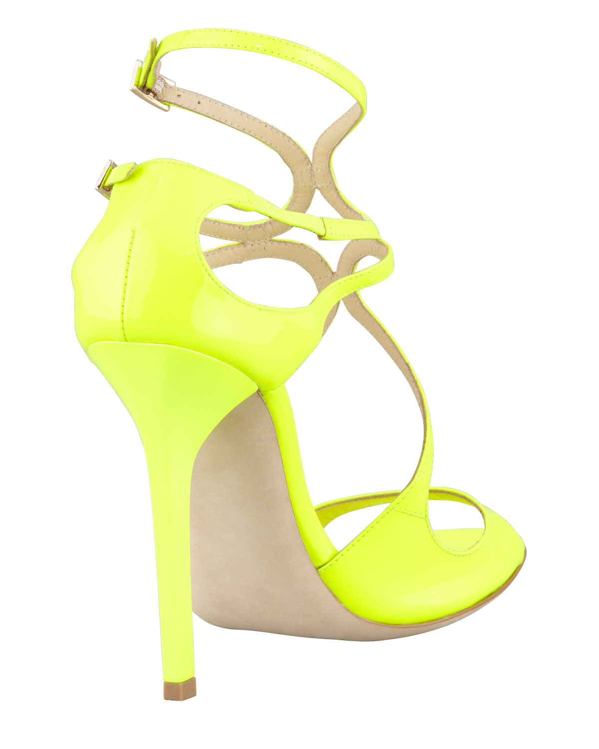 Jimmy choo Lang Patent Strappy Sandal Yellow in Yellow | Lyst