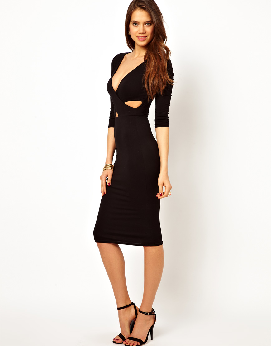 John zack Midi Dress with Wrap Front in Black | Lyst