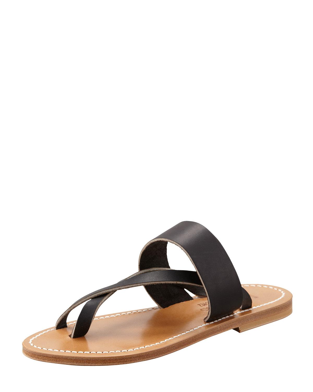 Lyst K Jacques Nehru Crisscross Toe Ring Flat Sandal In