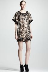 Lanvin Embellished Leopard-print Shift Dress - Lyst