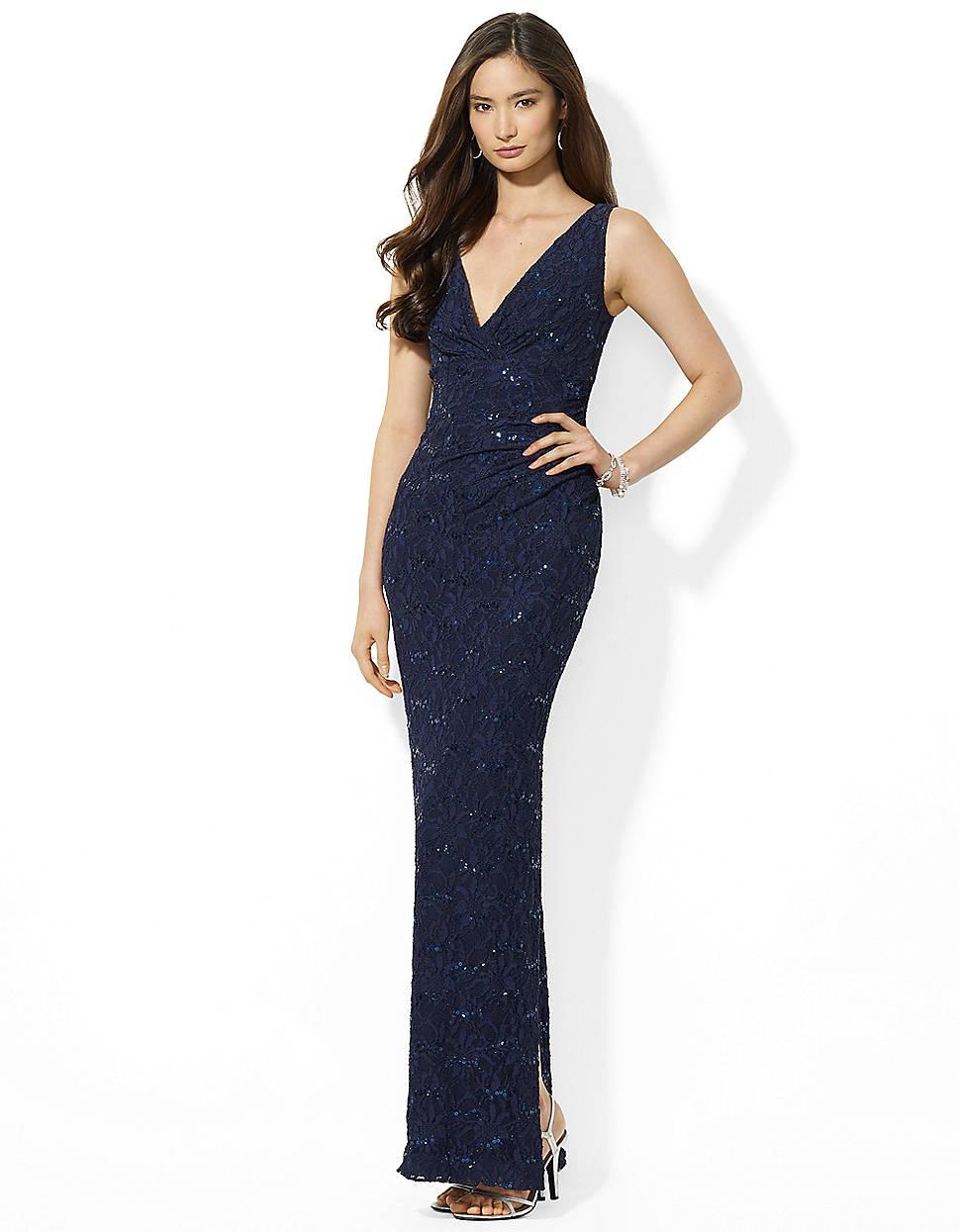 433ee99d397 Lauren by Ralph Lauren Sleeveless Cowlneck Matte Jersey Evening Gown ...