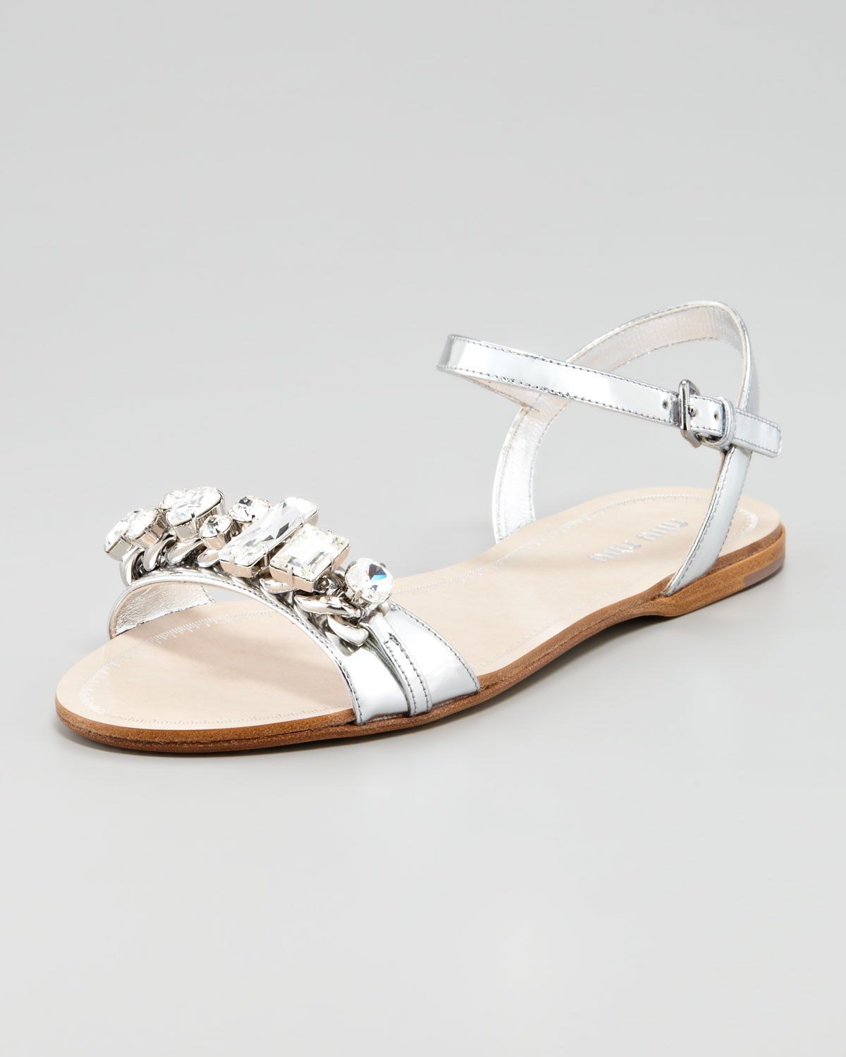affedcf11 Lyst - Miu Miu Crystal Strap Flat Sandals in Metallic