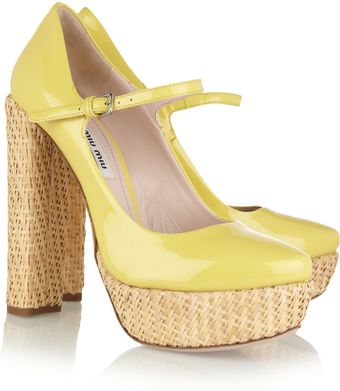 Miu Miu Patentleather and Raffia Pumps - Lyst