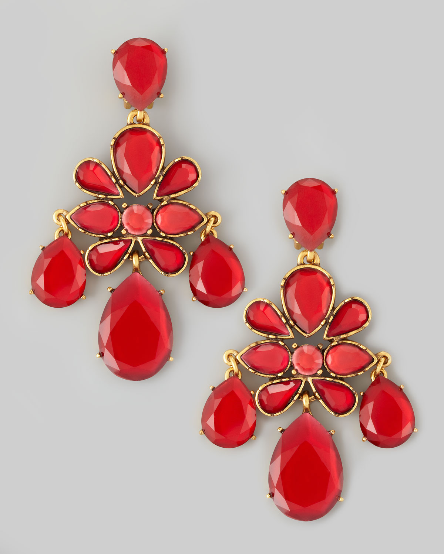 Lyst oscar de la renta crystal chandelier earrings in red gallery aloadofball Image collections