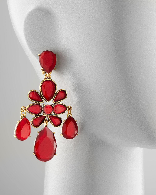 Lyst oscar de la renta crystal chandelier earrings in red gallery arubaitofo Choice Image