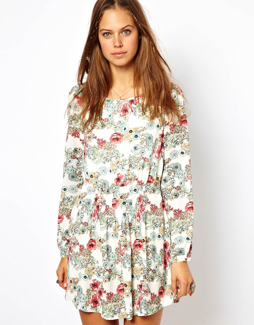 Lyst Pepe Jeans Floral Mini Dress With Open Back