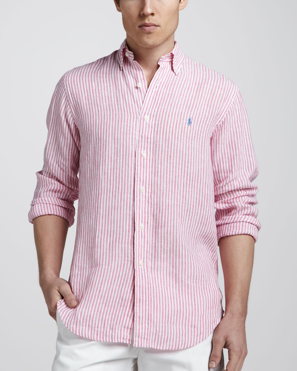 f831b6c7ae ... coupon code for lyst polo ralph lauren striped linen sport shirt in pink  for men f03b3