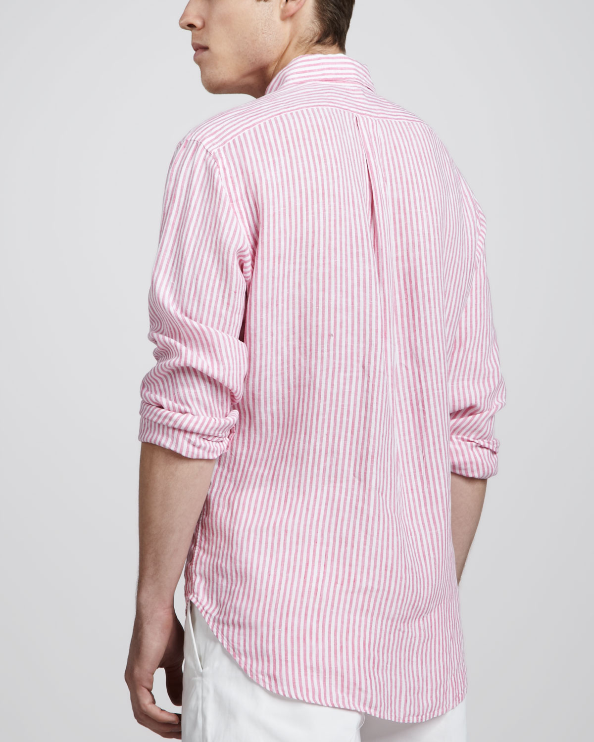 cd506b4a70b ... coupon code for lyst polo ralph lauren striped linen sport shirt in  pink for men f1165