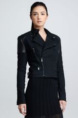 Ralph Lauren Black Label Leather-patch Denim Moto Jacket Twilight - Lyst