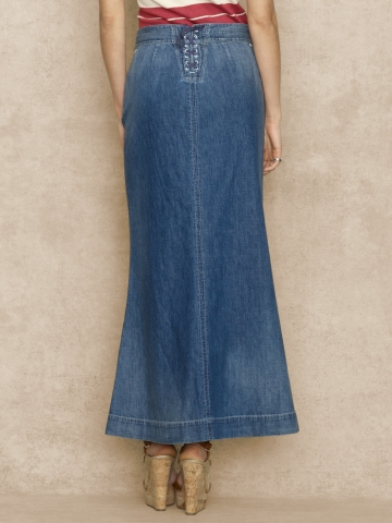Ralph lauren blue label Long Denim Skirt in Blue | Lyst