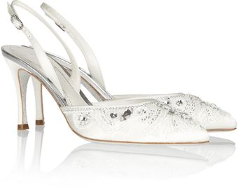 Rene Caovilla Embellished Glitter-soled Satin Sling-back Pumps - Lyst