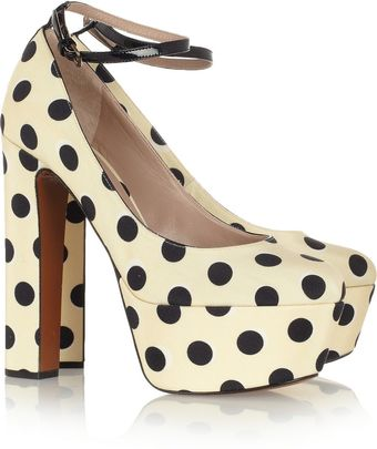 Rochas Polka dot Twill Pumps - Lyst