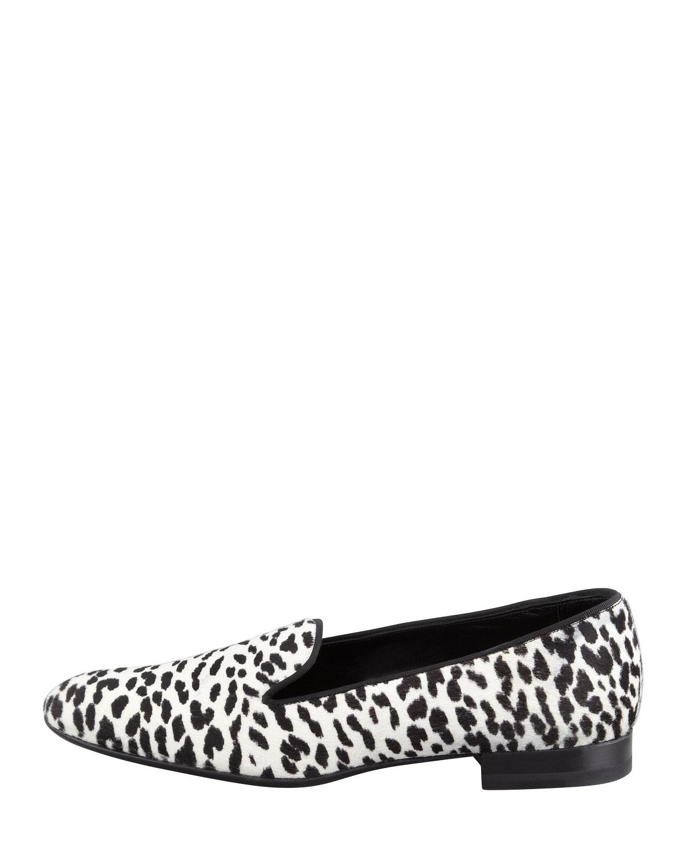 a3216394b4f6 Saint Laurent Corda Snow Leopard Calf Hair Smoking Slipper in White ...