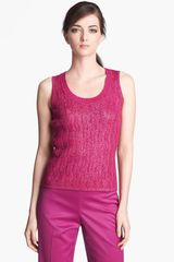 St. John Collection Sequin Lurex Cable Knit Tank - Lyst