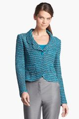 St. John Collection Notch Collar Tweed Knit Jacket - Lyst