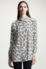 Stella McCartney Feather-print Silk Blouse - Lyst