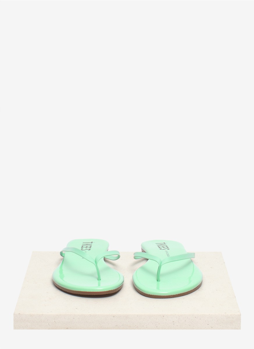 1baaa50cd18a Lyst - TKEES Lip Glosses Minty Leather Flipflops in Green