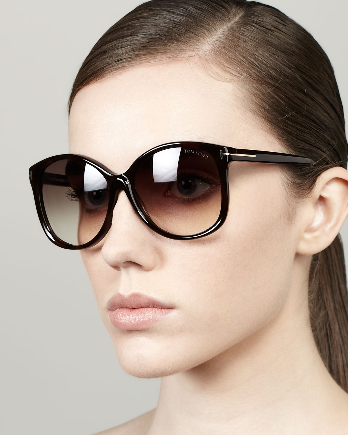 Lyst Tom Ford Carli Angled Round Sunglasses In Black