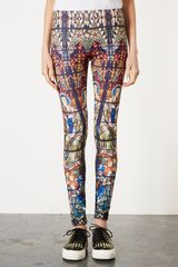 Topshop Stained Glass Print Scuba Leggings - Lyst