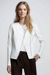 Vince Leathersleeve Asymmetric Jacket in White - Lyst