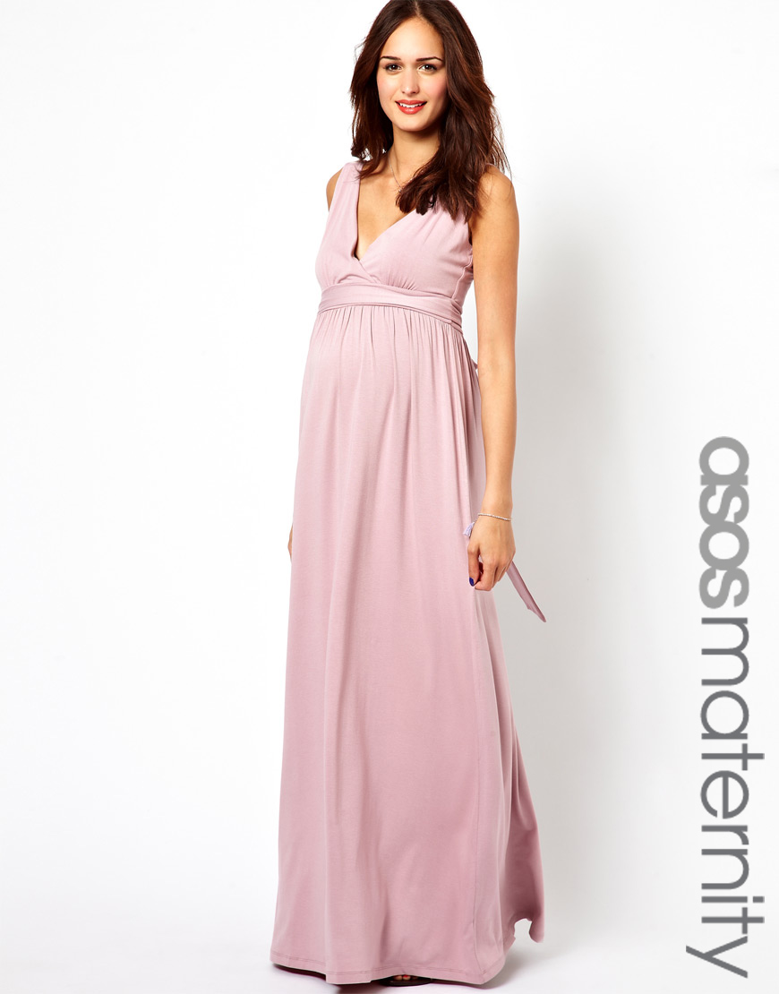 Asos exclusive maxi dress with grecian drape in pink lyst gallery ombrellifo Gallery