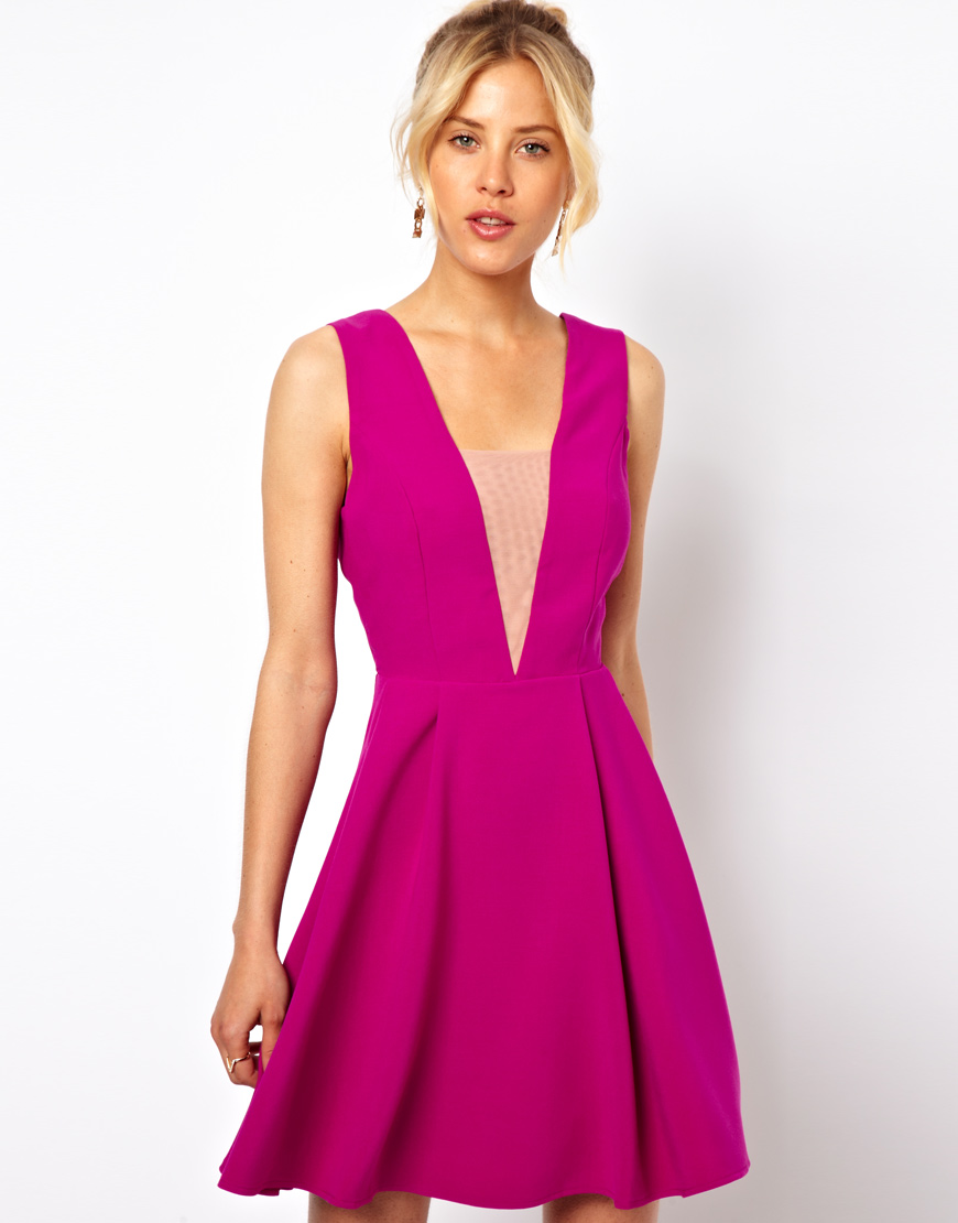0703ac7856f9 ASOS Deep Plunge Mesh Insert Skater Dress in Purple - Lyst